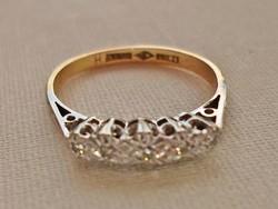 Gyönyörű antik gyémánt,platina 18kt-os aranygyűrű