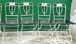 4 db. szecessziós összecsukható vas szék