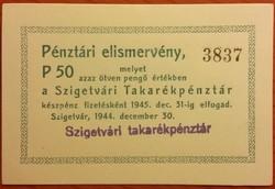 Szigetvári Takarékpénztár 50 Pengő - 1944