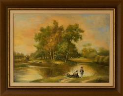 KEDVEZŐ ÁR! Széchenyi István - Horgászat c. festménye, EREDETISÉG IGAZOLÁS, VISSZAVÁSÁRLÁSI GARANCIA