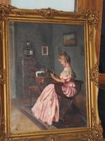 Pap Emil ( 1844 -?)  olajfestménye .  Jelzett, eredeti alkotás!
