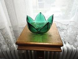 Zöld üveg kehely kínáló - mécsestartó