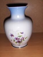 Hollóházi porcelán ibolya mintás váza 17,5 cm (fp)