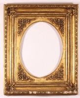 Ovális  fa tükörkeret aranyozott restaurált régi 54x64 cm