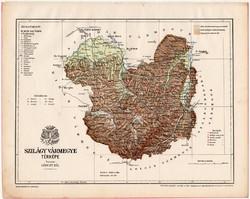 Szilágy vármegye térkép 1899, Magyarország atlasz (a), Gönczy Pál, 24 x 30 cm