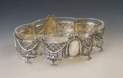 Ezüst barokkos üveges kínáló