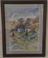 KORCSEK JÁNOS ( 1871-1962) : TABÁN GYÖNYÖRŰ FESTMÉNY KIVÁLÓ KVALITÁS 42cm X 53,5cm akvarell, papír