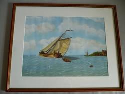Yvette Mannee holland festő Hajók és kikötők sorozat/4.