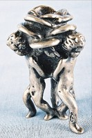 Barokk puttó miniatűr gyertyatartó ezüstözött