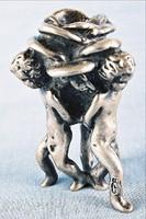 Szecessziós miniatűr gyertyatartó ezüstözött