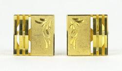 0R738 Elegáns aranyszínű mandzsettagomb pár