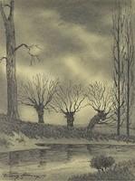 0S190 Franz Abony : Folyópart ősszel 1919