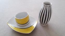Hollóházi retro porcelán váza hamutartó dísztárgy 3 db