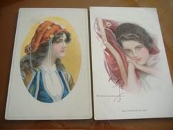 Népviseletben/A kedvenc párnám. A két képeslap egyben.