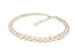 Klasszikus igazgyöngy nyaklánc, csomózott fehér tenyésztett gyöngy nyaklánc alkalmi 925 ezüst kapocs