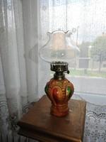 Hong Kong-i kézzel festett petróleumlámpa (üveg): 26 cm magas