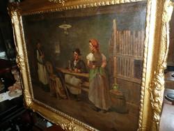 Krupka Ferenc (1870-1928) gyönyörű olaj-vászon festménye 95*75 cm méretben