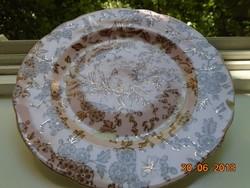Aranykontúrozott,antik,egyedi festéssel,madár-rovar mintás rózsaszín tányér-20,8 cm