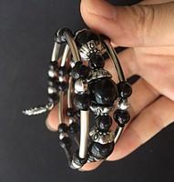 Tibeti ezüst  3 soros, fekete Jade gyöngyös karkötő