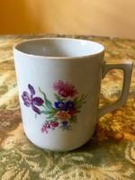 Antik Zsolnay iriszes virágcsokros bögre csésze