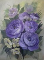 Lila rózsacsokor című  festmény , csendélet
