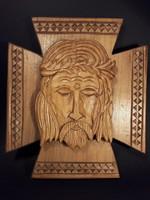 Nagy István Népművész - Jézus - fafaragás fa falidísz