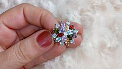Csodaszép, többszínű, köves gyűrű 8