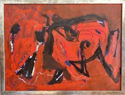 Klimó Károly - Absztrakt festmény - 1990 - olaj, papír