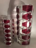 Kettő egy áráért!! Art deco pompás  vastagfalú  üveg váza  jelzett