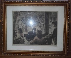 Kórusz József  Eszpresszóban című képe gyönyörű antik keretben