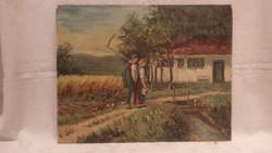 Táskai : Hazafele olaj-karton festmény
