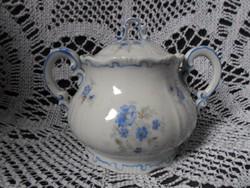 Zsolnay tollazott barokk kék virágmintás cukortartó