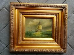 Hajós kép,festmény,égetett kerámia szép keretben