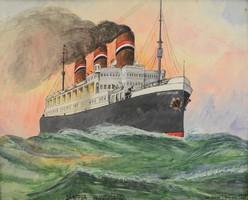 Dampfer Deutschland 1926-os festmény, 54x43 cm, szignózott, Oskar Tichy