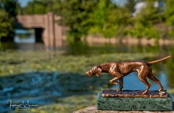 Magyar vizsla bronz szobor miniatúra