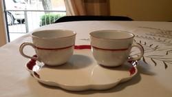 Herendi tálca ajándék kávés pohárral