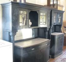 Antik kis- és nagy tálalószekrény (ebédlő szekrény)