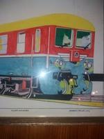 Jávorszky: Mozdony terv, vegyes, eredeti, keret, üveg, 44x32 + keret
