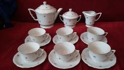 Zsolnay apróvirágos aranyozott manófüles teás készlet - 6 személyes - RITKA !