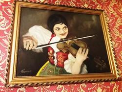 Olaj vászon festmény hegedűs nő