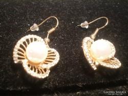 VIRÁGOS, kristályos arany goldfilled fülbevaló