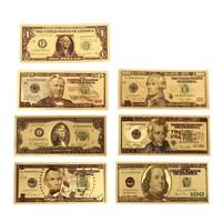 1, 2, 5, 10, 20, 50, 100 dollár 24 k aranyozott dollár!! Magas minőségű!!