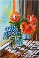 Sztopka Anna: Olaj festmény, pipacs csokor, virág csendélet, modern képkeret, üveggel