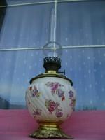 Antik majolika Zsolnay Fischer petróleum lámpa réz szerelékkel 59 cm magas