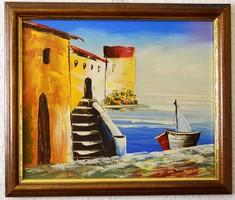 Szép pasztózus mediterrán olajfestmény, 27x23 cm