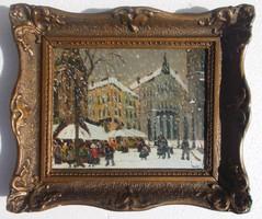 Téli utca - magyar festmény!