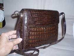 Vintage barna krokodilbőr válltáska