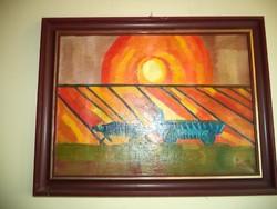 Modern festmény jelezve: Lamperth olaj vászon :Szántás