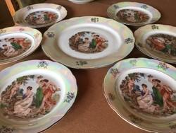 Kahla porcelán madonnás süteményes készlet, vitrinállapot, 6 személyes