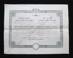 Általános Magyar Municipális Hitel-Intézet részvény 200 forint 1878